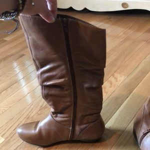 Brown leather below the knee boots